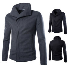 Men's Stylish Slim Fit Sleeve Long Woolen Coat Jacket Solid Color Casual Outwear