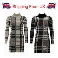 WOMEN LADIES LONG SLEEVE BODYCON CHECKED KNIT COWL POLO NECK TOP DRESS TUNIC