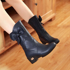 Fashion Hot Womens Retro Mid Wedge Heel Calf Boots Shoes Plus Size British Style