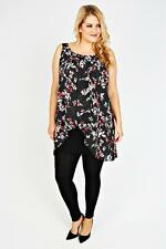 Plus Black, Red & White Floral Print Chiffon Overlay Tunic Dress 14-32