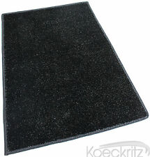 Black Indoor-Outdoor Artificial Grass Turf Area Rug Carpet with Marine Backing