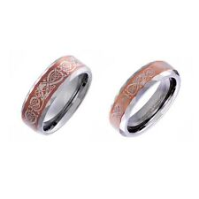 His hers Wedding Ring Sets Tungsten Coffee Satin Celtic Dragon Scroll