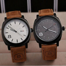 Men's Quartz Leather Analog Leather Watches Military Strap Unisex Wrist Watch