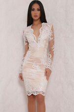 White Floral Lace Overlay Lined Mini Dress Sexy Ladies women bodycon v neck club