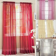 Solid Color Home Door Sheer Voile Drape Panel Scarf Window Curtain Curtain Scarf