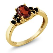 0.76 Ct Oval Red Garnet Black Diamond 18K Yellow Gold Plated Silver Ring