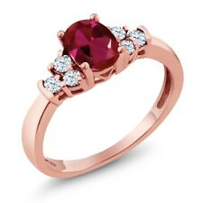0.82 Ct Oval Red Created Ruby White Topaz 18K Rose Gold Plated Silver Ring