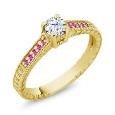 0.43 Ct Round White Topaz Pink Sapphire 18K Yellow Gold Plated Silver Ring