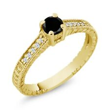 0.39 Ct Black Diamond White Created Sapphire 18K Yellow Gold Engagement Ring