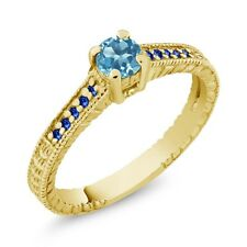 0.43 Ct Round Swiss Blue Topaz Blue Sapphire 18K Yellow Gold Plated Silver Ring