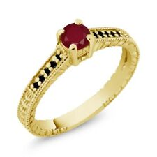 0.42 Ct Round Red Ruby Black Diamond 18K Yellow Gold Engagement Ring