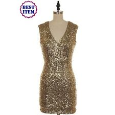 Stunning Gold V-Neck Sequin Mini Party Dress (Celebrity Inspired)