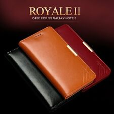 KLD ROYALE Genuine Leather Wallet Flip Case Cover for Samsung Galaxy Note 5 4 7