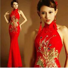 Chinese Cheongsam Evening Prom Party Wedding Mermaid Dress Ball Gown bride toast