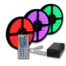 Continuous 20M 65FT RGB 5050 SMD LED Strip Light Waterproof IR Remote +12V Power