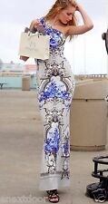 Roberto Cavalli One Shoulder Blue Floral Stretch Gown NWT