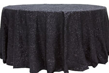 """5 SEQUIN TABLECLOTHS 108"""" ROUND 48"""" TABLE 3 COLORS WEDDING OVERLAY MADE in USA"""