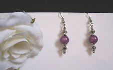 Lilac 3D miracle bead Tibetan Silver short earrings - clip-on or pierced