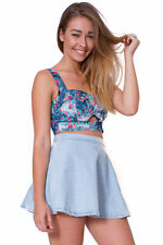 Cute High Waisted Denim Flippy Skater Skirt - Summer / Festival / Retro - BNWT