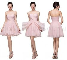 New Short Pink Chiffon Evening Dress Strapless Ruffle Formal Cocktail Prom Gown