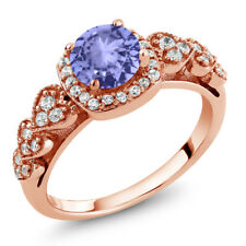 1.22 Ct Round Blue Tanzanite 18K Rose Gold Plated Silver Ring