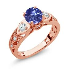 2.16 Ct Round Blue Tanzanite 18K Rose Gold Plated Silver Ring