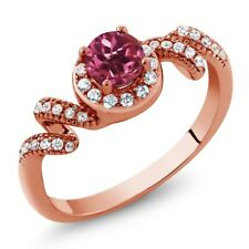 0.89 Ct Round Pink Tourmaline AAA 18K Rose Gold Plated Silver Twist Ring
