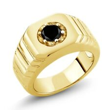 0.55 Ct Round Black AAA Diamond 18K Yellow Gold Men's Solitaire Ring