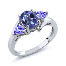 1.72 Ct Oval Purple Blue Mystic Topaz and Blue Tanzanite 18K White Gold Ring