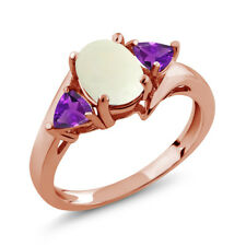 1.47 Ct Oval Cabochon White Simulated Opal Purple Amethyst 14K Rose Gold Ring