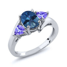 1.72 Ct Oval Royal Blue Mystic Topaz Blue Tanzanite 18K White Gold Ring