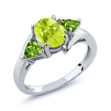 1.62 Ct Oval Yellow Lemon Quartz Green Peridot 14K White Gold Ring