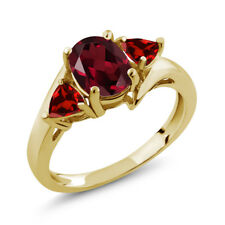 2.03 Ct Oval Red Rhodolite Garnet Red Garnet 18K Yellow Gold Plated Silver Ring