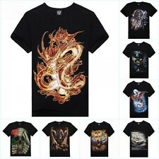 Quality 3D Animal Mens Shirts Short Sleeve Round Neck Tops Tee T Shirt Pullover