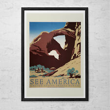 ARCHES National Park Travel Poster - Vintage USA Travel Print - Professional Rep
