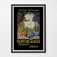 SPAIN TRAVEL POSTER - Galice Travel Poster - Vintage Car Poster, High Quality Re