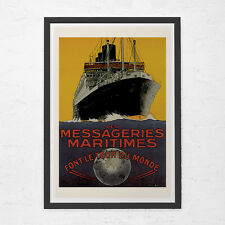 ANTIQUE TRAVEL POSTER - Tour Du Monde Travel Poster - Vintage Nautical Poster, C