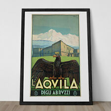 L'AQVILA ITALY TRAVEL Poster Italian Travel Poster Art Deco Poster 1920's Poster