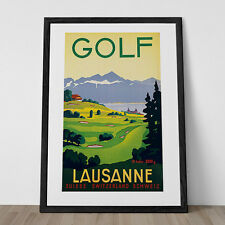 Switzerland Travel Poster Vintage Art Deco Poster Golf Poster Golf Print Lausann