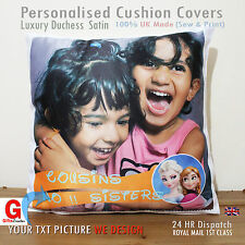 Personalised Photo Collage White Cushion Cover Anniversary Gift, Duches Satin