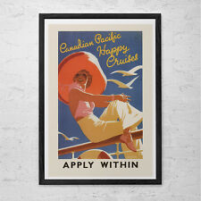 CANADIAN PACIFIC Cruise Travel Poster - Vintage Beach House Poster -  Canadian P