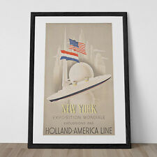 NEW YORK EXPO Travel Ad Poster - Holland America Cruise Line Poster - Frame Read