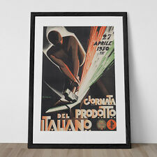 Vintage Art Deco Giclee Poster Print 1930 ITALIAN PRODUCTION  High Quality Frame