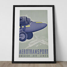 Vintage Art Deco Giclee Poster Print AEROTRANSPORT SWEDISH AIRLINES High Quality