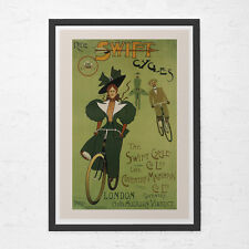 ANTIQUE BICYCLE POSTER - Swift Cycles Poster - Art Nouveau Poster, High Quality