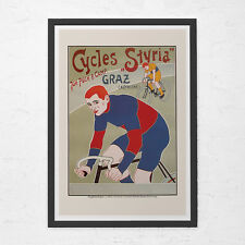ANTIQUE BICYCLE POSTER - Cycles Styria Poster - Art Nouveau Poster, High Quality