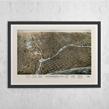 ANTIQUE MILWAUKEE MAP - Vintage Map Milwaukee Wisconsin - Vintage Map Reproducti
