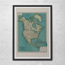 NORTH AMERICA MAP - Vintage Map of North America - Retro Map Print, Historical W