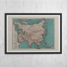 VINTAGE ASIA MAP - Vintage Map of Asia - Old Map Print, Vintage Wall Art, Antiqu