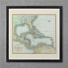 ANTIQUE Map of the WEST INDIES Antique Wall Art - Caribbean Map 1799 - West Indi